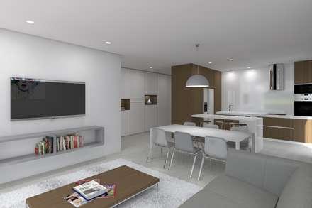 Projeto Safira: Salas de estar minimalistas por Magnific Home Lda