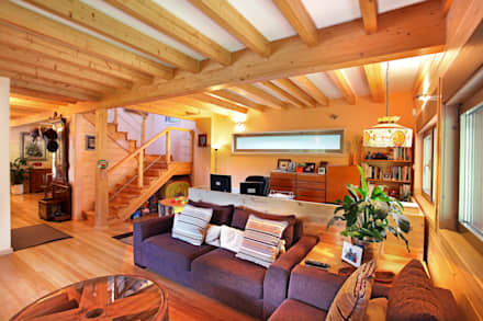 rustic Living room by Rusticasa