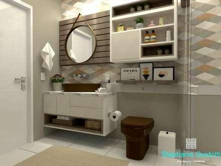 Banheiro D N: Banheiros mediterrâneos por Stephanie Guidotti Arquitetura e Interiores