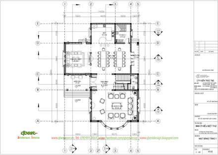 Mặt bằng tầng 1:  Biệt thự by Công ty TNHH Thiết Kế và Ứng Dụng QBEST