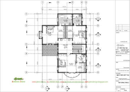 Mặt bằng tầng 2:  Nhà by CÔNG TY TNHH KIẾN TRÚC T&D