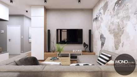 Ciepły salon w nowoczesnym klimacie: styl , w kategorii Salon zaprojektowany przez MONOstudio