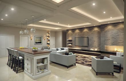 Luxury Modern Home: asian Living room by Mary Lakzy