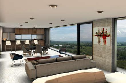 Casa Miravalle Buga: Salas de estilo moderno por COLECTIVO CREATIVO