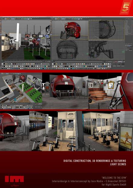 Gimnasios en casa de estilo  por Inco Media - Kommunikationsdesign, Interiordesign