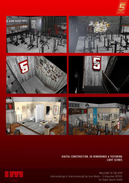 Gimnasios en casa de estilo rústico por Inco Media - Kommunikationsdesign, Interiordesign