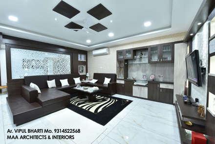 رہنے کا کمرہ  by MAA ARCHITECTS & INTERIOR DESIGNERS