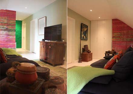 FAMILY ROOM du DUPLEX - Architecture interieure - PERROIN S -: Salle multimédia de style  par Stephanie Perroin