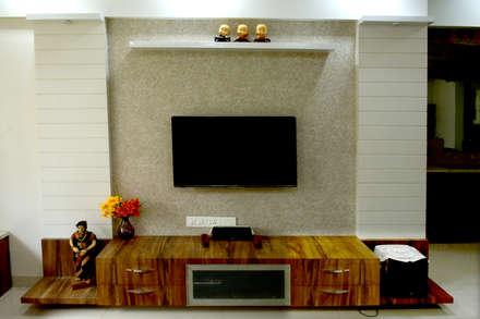 TV unit: modern Living room by Vinayak Interior   Interior Designing and Decorator Companies