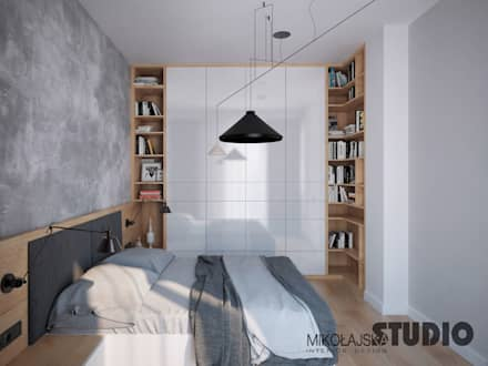 beton w sypialni: styl , w kategorii Sypialnia zaprojektowany przez MIKOŁAJSKAstudio
