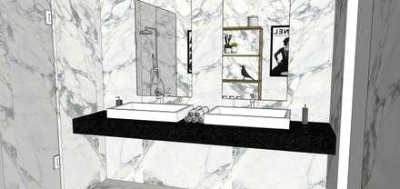 Projeto Casa de Banho Comum | Varandas do Mar | Areia Branca: Casas de banho tropicais por Os Arquitetos