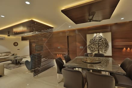 asian Dining room by SPACCE INTERIORS