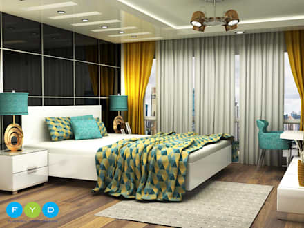 Punches of color keep a room feeling youthful and engaging.: modern Bedroom by FYD Interiors Pvt. Ltd