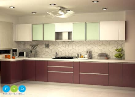 """""""Life should be chic, glamorous and colorful - and so should your home."""" : modern Kitchen by FYD Interiors Pvt. Ltd"""