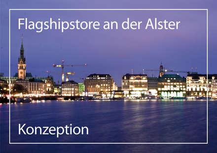 Flagshipstore an der Alster:  Geschäftsräume & Stores von JS Bauplanung & Interior Design