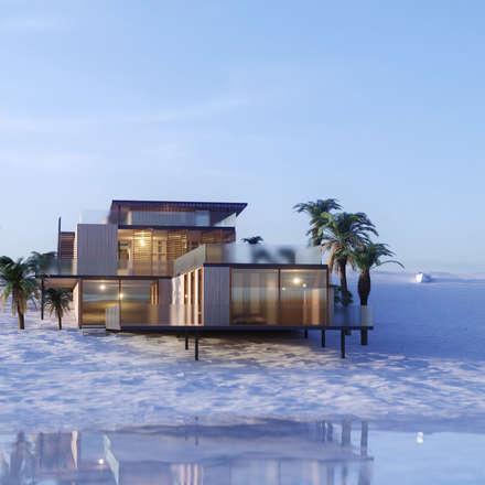 Maison individuelle à ossature bois vue 2 maisons de style de style moderne par