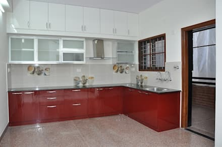 L shaped kitchen asian kitchen by scale inch pvt ltd