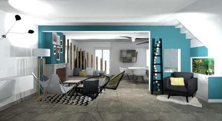Aménagement d'un salon contemporain avec cheminée par Tiffany Fayolle Architecte d'intérieur et Décorateur à Lyon: Salle à manger de style de style Moderne par Tiffany FAYOLLE Décoration