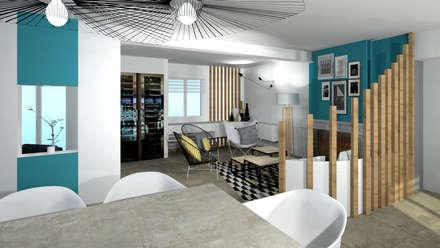 Aménagement d'une salle à manger contemporain avec cheminée et salon par Tiffany Fayolle Architecte d'intérieur et Décorateur à Lyon: Salle à manger de style de style Moderne par Tiffany FAYOLLE Décoration