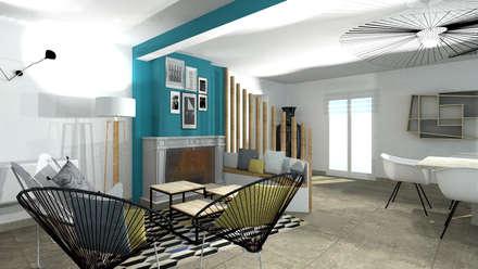Aménagement d'une salle à manger contemporain avec cheminée par Tiffany Fayolle Architecte d'intérieur et Décorateur à Lyon: Salle à manger de style de style Moderne par Tiffany FAYOLLE Décoration