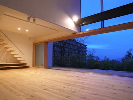 爽やかな風が通り抜ける家: 中庭のある家|水谷嘉信建築設計事務所が手掛けたリビングです。