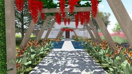 Pergolado entre blocos: Jardins modernos por Studio²