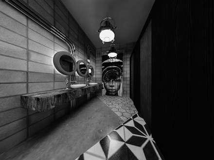 [Café ]  180평 패셔너블리한 공간 - 인더스트리얼 인테리어디자인: 디자인 이업의  화장실