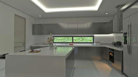 Isla cocina interior: Cocinas de estilo moderno por Arquitecto Pablo Restrepo