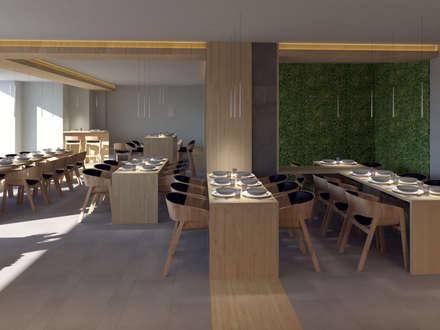 Zona comedor: Locales gastronómicos de estilo  de EZ Interiors