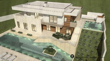 Moradia V5 - Cascais | a.b. 350,00 m2: Piscinas modernas por ATELIER OPEN ® - Arquitetura e Engenharia