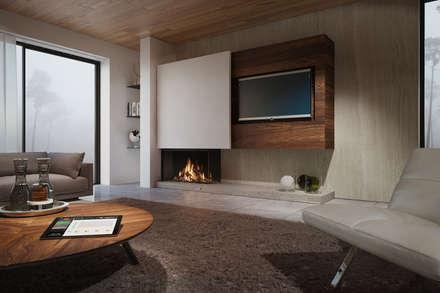 Recuperadores de Calor a Gás: Salas de estar modernas por Biojaq - Comércio e Distribuição de Recuperadores de Calor Lda