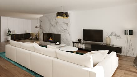 Moradia Unifamiliar T3: Salas de estar modernas por EsboçoSigma, Lda