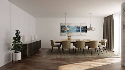 Moradia Unifamiliar T3 - Lordelo-Paredes: Salas de jantar modernas por EsboçoSigma, Lda