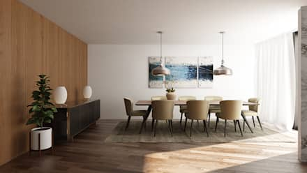 Moradia Unifamiliar T3: Salas de jantar modernas por EsboçoSigma, Lda