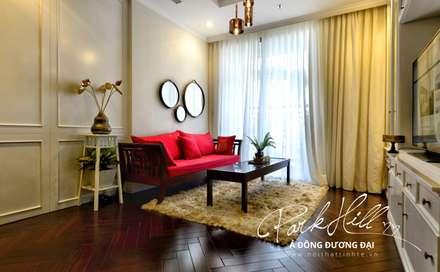 Căn hộ Park Hill Á-Đông-Đương-Đại 99m2:  Phòng khách by Công ty cổ phần NỘI THẤT AVALO