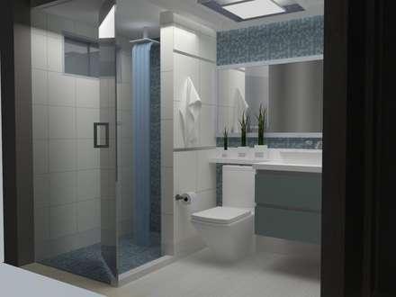 REMODELACION Y DISEÑO DE INTERIORES DE UN APARTAMENTO PARA VACACIONAR: Baños de estilo moderno por Arq. Marynes Salas