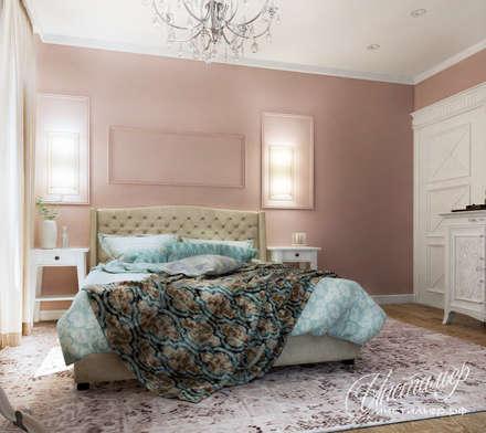 Дизайн спальни в коралловых тонах: Спальни в . Автор – Студия Инстильер | Studio Instilier