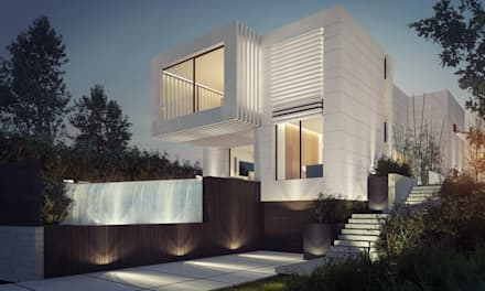 FACHADA PRINCIPAL: Casas de estilo moderno de EAU ARQUITECTURA S.L.P.