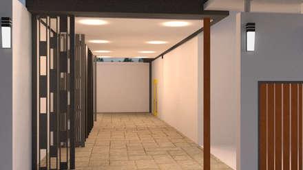ออกแบบ 3d บ้าน 3 ชั้นให้ลูกค้า style ioft:  ระเบียงและโถงทางเดิน by mayartstyle