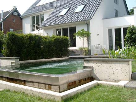 mit Gegenstomanlage, funktoniert als ökologischer Naturpool und architektonisch prägendes Element.: minimalistischer Pool von 2kn Architekt + Landschaftsarchitekt