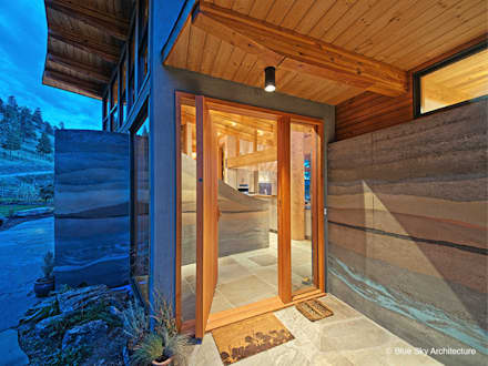 Stone and Wood Entryway:  Windows by Helliwell + Smith • Blue Sky Architecture