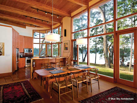 Post and Beam Construction: modern Kitchen by Helliwell + Smith • Blue Sky Architecture