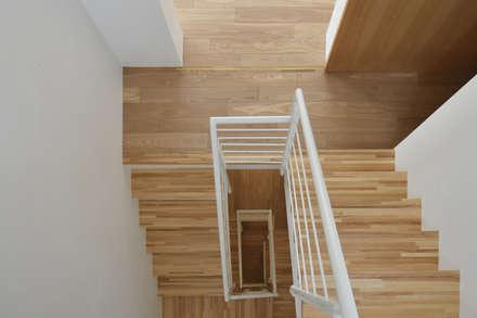 各階をつなぐ自然光の階段: 株式会社ラウムアソシエイツ一級建築士事務所が手掛けた玄関・廊下・階段です。