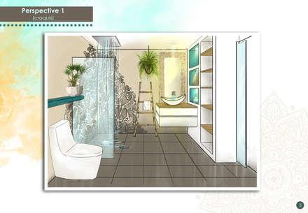 Perspective 3D: Salle de bain de style de style Tropical par DESIGN KREATION