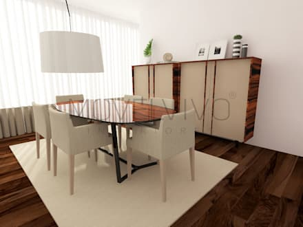 Cosy Dining Room: minimalistic Dining room by Movelvivo Interiores