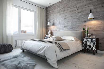 Квартира 110 кв.м. в скандинавском стиле в ЖК «V-House»: Спальни в . Автор – Студия архитектуры и дизайна Дарьи Ельниковой