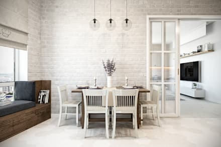 Квартира 110 кв.м. в скандинавском стиле в ЖК «V-House»: Кухни в . Автор – Студия архитектуры и дизайна Дарьи Ельниковой