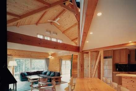 茅野の山荘(傘山荘): 株式会社ラウムアソシエイツ一級建築士事務所が手掛けたダイニングです。