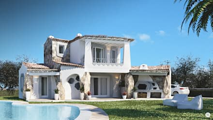 Esterno Villa: Giardino in stile in stile Mediterraneo di DMC Real Render