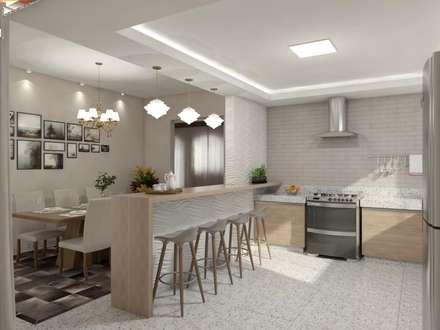 Sala de estar, jantar e cozinha: Cozinhas minimalistas por Marcela Matos Arquitetura e Interiores